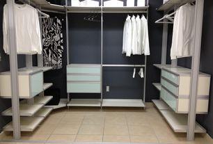 Modern Closet with Modu Home Modern Closets, Built-in bookshelf, Bedrosians 12x12 Limestone Ivony Honed Porcelain Floor Tile