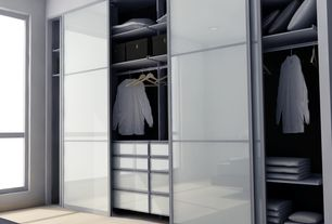 "Modern Closet with Mullican Flooring Maple Natural 3/8"" Thick 5"" Wide, Ikea Sekken Pair of Sliding Doors, Frosted Glass"