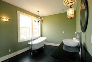 Traditional Full Bathroom with Simple marble counters, Laminate floors, Master bathroom, Chandelier, Wall sconce, Vessel sink