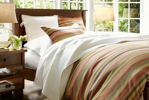 Guest Bedroom with Pottery barn logan stripe duvet cover & sham, Casement, Pottery barn sumatra bedside table, picture window
