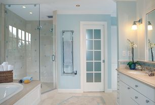 Traditional Master Bathroom with European Cabinets, Subway Tile, Undermount sink, frameless showerdoor, Wall sconce, Flush