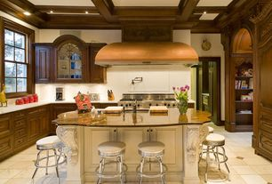 Traditional Kitchen with large ceramic tile floors, Complex granite counters, Framed Partial Panel, Casement, Undermount sink