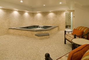 Contemporary Hot Tub with River rock patio, Indoor hot tub, Throw pillow, Brick hot tub surround