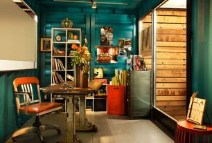 Modern Home Office with Hardwood floors, High ceiling, flush light