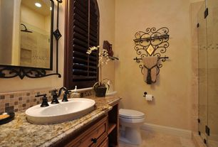 Mediterranean 3/4 Bathroom with partial backsplash, Ms international barricato granite counter, Master bathroom, Subway Tile