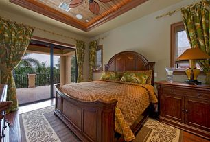 Tropical Master Bedroom with Hallmart collectibles westgate comforter set, Hardwood floors, Cayman rod pocket curtains