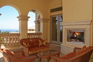 Mediterranean Porch with Transom window, French doors, Replacement cushion - tortuga outdoor lexington wicker love seat