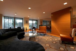 Contemporary Family Room with sliding glass door, flush light, Standard height, picture window, Laminate floors