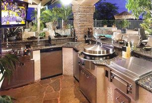 Contemporary Patio with Outdoor kitchen, Flagstone patio, Granite counters
