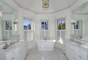 Traditional Master Bathroom with Undermount sink, Master bathroom, Crown molding, Complex marble counters, High ceiling