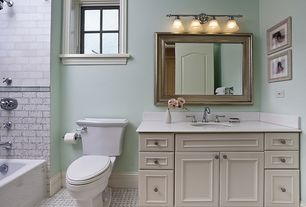 Cottage Full Bathroom with Framed Partial Panel, Paint, wall-mounted above mirror bathroom light, Simple marble counters