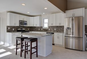 Contemporary Kitchen with Built In Refrigerator, Breakfast bar, Ceramic Tile, Simple granite counters, can lights, Flush
