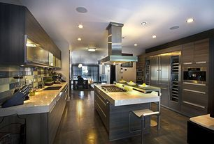 Contemporary Kitchen with flush light, Solid surface countertop, Glass Tile, Wine refrigerator, Bar stools, Undermount sink