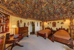 Eclectic Guest Bedroom with Mural, Carpet, Columns