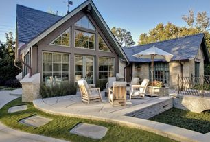 Cottage Patio with Outdoor furniture, Outdoor seating area, exterior stone floors, Outdoor seating, French doors, Fire pit