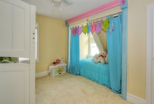 Cottage Kids Bedroom with Window seat, Atlantic furniture nantucket bunk bed, Ceiling fan, Carpet, flush light, Bunk beds