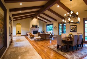 Contemporary Great Room with Hardwood floors, Cement fireplace, Pottery Barn Elham Persian-Style Rug, Chandelier