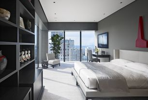 Modern Guest Bedroom with Flat panel cabinets, Arteriors Home Costello Polished Accent Table, High ceiling, Carpet