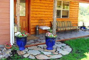Rustic Porch with exterior stone floors, Glass panel door