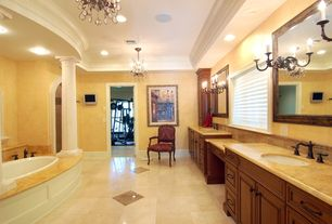 Traditional Full Bathroom with Undermount sink, Columns, Arizona Tile, Jerusalem Gold, Limestone., Frameless, Chandelier