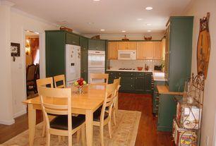 Cottage Kitchen with Flat panel cabinets, U-shaped, Stone Tile, Maple - Cinnamon 5 in. Engineered Hardwood Wide Plank, Flush