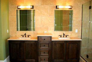 Modern Full Bathroom with Simple marble counters, frameless showerdoor, Double sink, Undermount sink