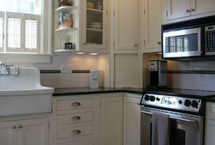 Country Kitchen with Farmhouse sink, full backsplash, Subway Tile, specialty window, Large Ceramic Tile, gas range, Paint