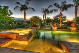 Tropical Swimming Pool with exterior stone floors, Palm trees, Concrete