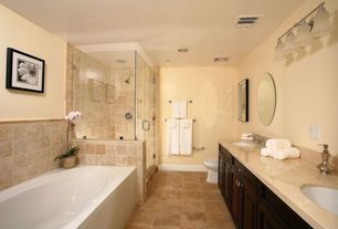 Modern Master Bathroom with Custom shower, Dual shower heads, MS International Tuscany Ivory Travertine, Polished, Soaking