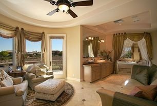 Traditional Living Room with Built-in bookshelf, French doors, Ceiling fan, simple marble floors, Standard height, Casement