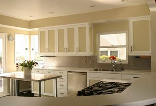 Contemporary Kitchen with Simple marble counters, Flat panel cabinets, Kitchen island, Casement, U-shaped, drop-in sink