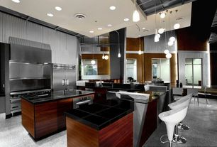 Modern Kitchen with Concrete floors, Inset cabinets, Kitchen island, single dishwasher, Soapstone, Wall Hood, can lights