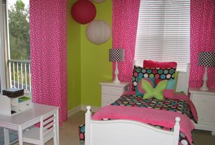 Modern Kids Bedroom with Carpet, World Market Pink Maru Round Paper Lantern, Pottery Barn Kids Catalina Bed Simply White
