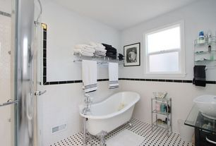 Traditional Full Bathroom with Nickel cabinet hardware, Vessel sink, Clawfoot, Custom shower, Glass counters