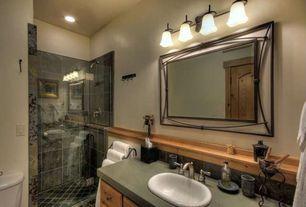 Modern 3/4 Bathroom with three quarter bath, specialty door, Shower, wall-mounted above mirror bathroom light, can lights