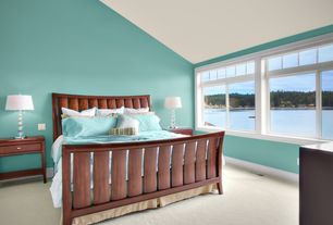 Modern Guest Bedroom with Carpet, Standard height, Casement, specialty window