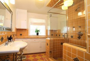 Eclectic 3/4 Bathroom with frameless showerdoor, flush light, Console sink, Large Ceramic Tile