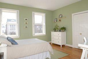 Traditional Guest Bedroom with Bellawood Natural Red Oak Hardwood Flooring, Carpet, High ceiling, Hardwood floors