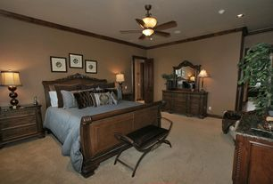 Traditional Guest Bedroom with Ceiling fan, Carpet, Standard height, flat door, interior wallpaper, Crown molding, can lights