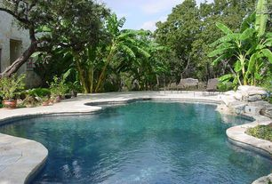 Tropical Swimming Pool with exterior stone floors