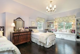 Traditional Guest Bedroom with Gallery Versailles Wrought Iron and Crystal 5-light Chandelier with Shades, Built-in bookshelf