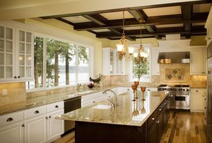 Traditional Kitchen with Stone Tile, Coffered ceiling, Glass panel, Arizone tile - st. cecilia rio granite, Box ceiling