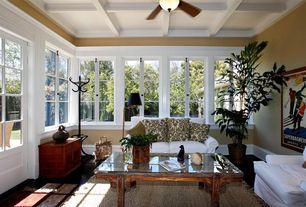Eclectic Living Room with Standard height, Box ceiling, Glass panel door, Ceiling fan, Casement, Hardwood floors