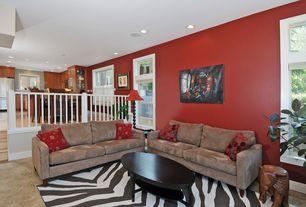 Modern Living Room with Standard height, Sunken living room, travertine floors, Carpet, can lights, French doors