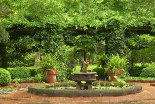 Traditional Landscape/Yard with Lotus Leaf Plant, exterior terracotta tile floors, Trellis, Fountain, Pond