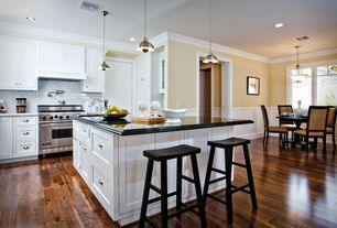 Contemporary Kitchen with One-wall, Breakfast nook, Inset cabinets, Pendant light, flush light, Crown molding, Subway Tile