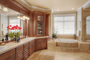 """Traditional Master Bathroom with MSI 12"""" x 12"""" Honed Travertine Tile in Tuscany Ivory, Flush, Crown molding, Raised panel"""