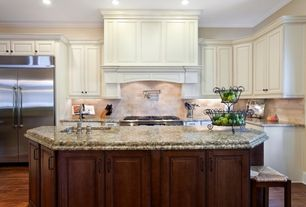 Traditional Kitchen with Stone Tile, Crown molding, Dura Supreme Cabinetry Arcadia Classic Panel, Undermount sink, One-wall