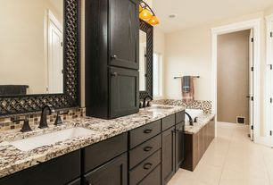 Contemporary Master Bathroom with Standard height, drop in bathtub, full backsplash, Flat panel cabinets, Double sink