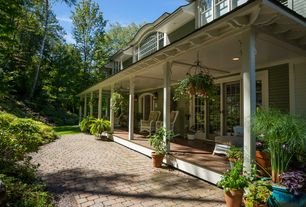 Country Porch with exterior brick floors, Screened porch, Pathway, French doors